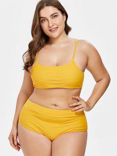 High Leg Plus Size Bikini - Bright Yellow 1x