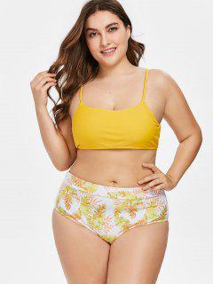 High Cut Leaves Print Plus Size Bikini - Bright Yellow L
