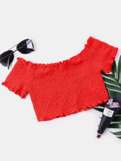 Off The Shoulder Smocked Crop Blouse - Red Xl