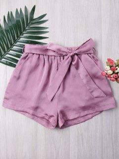 Pantalones Cortos De Pierna Ancha Elegante - Lila Xl