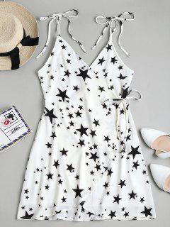 Star Print Mini Wrap Slip Dress - White M