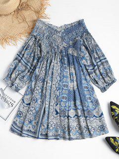 Printed Cross Front Off Shoulder Mini Dress - Blue Xl