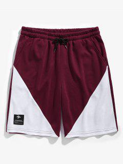 Drawstring Two Tone Basketball Shorts - Red Wine M