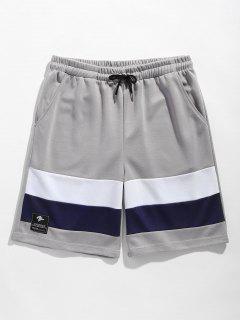 Color Block Drawstring Basketball Shorts - Gray Xl