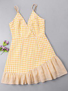 Gingham Open Back Surplice Dress - Bright Yellow L