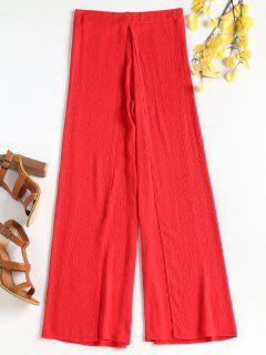 Slit Overlap Wide Leg Pants - Red S