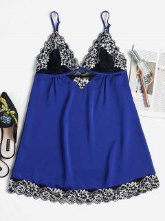 Embroidered Lace Scallop Nightdress - Cobalt Blue S