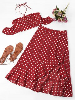 Polka Dot Two Piece Set - Love Red S