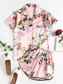Conjunto De Pijama Floral Satinado - Cerdo Rosa Xl