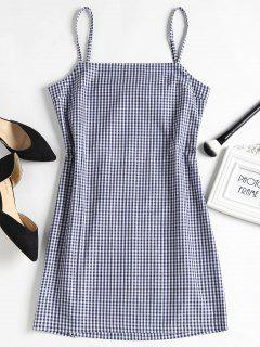 Checked Bowknot Cut Out Mini Dress - Deep Blue M
