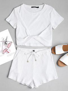 Ribbed Top And Shorts Two Piece Set - White M