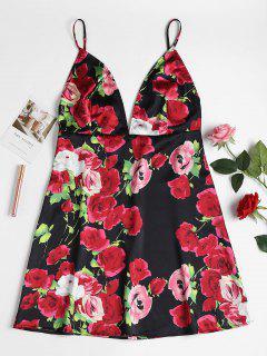Robe Pyjama En Satin à Fleurs - Multi-a L