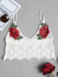 Scalloped Crochet Cami Tank Top - White S