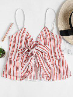Striped Knotted Cami Tank Top - Red L