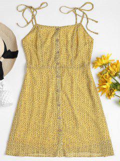 Printed Button Up Cami Dress - Corn Yellow S