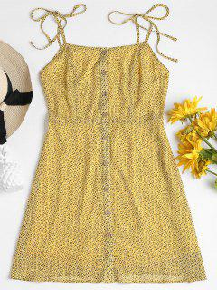 Printed Button Up Cami Dress - Corn Yellow L
