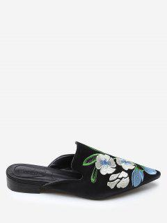Color Block Floral Embroidery Pointed Toe Mules Shoes - Black 38