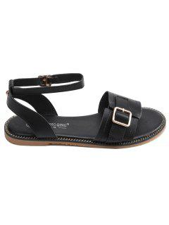 Roman Style Ankle Buckle Flat Heel Sandals - Black 43