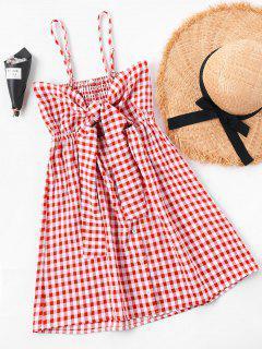 Summer Tartan Shirred Slip Dress - Red S