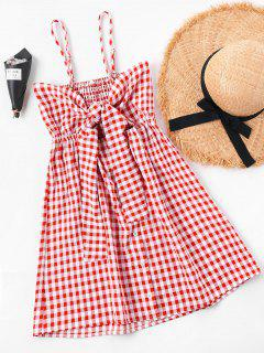 Summer Tartan Shirred Slip Dress - Red L