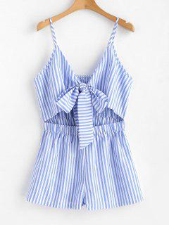 Cami Striped Tie Front Romper - Light Sky Blue S