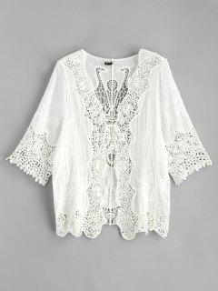 Kimono De Ganchillo Delantero Con Lazo - Blanco