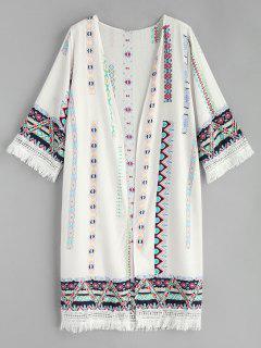Kimono Estampado Borla - Blanco