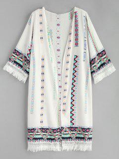 Tassel Printed Kimono - White