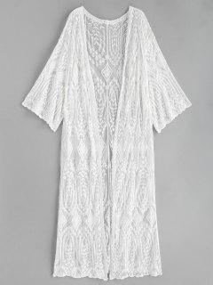 Embroidered Longline Kimono - White