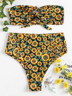Knot Sunflower High Waisted Bikini - Black L