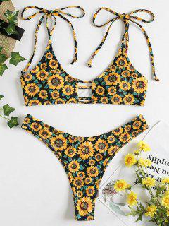 Tie Shoulder Sunflower Keyhole Bikini - Black L