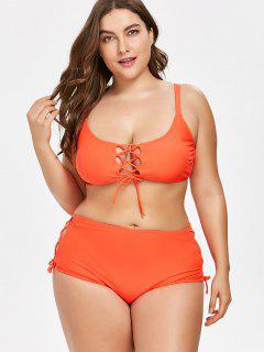 High Cut Plus Size Lace-up Bikini - Red 4x