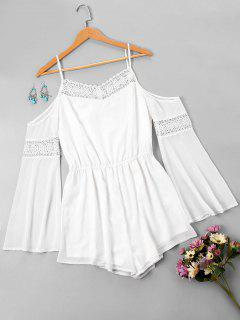 Dew Shoulder Flare Sleeve Romper - White M
