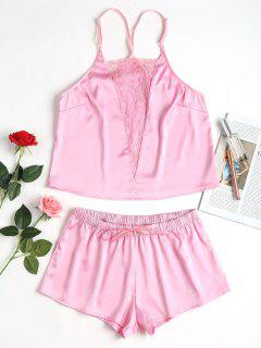 Spitze Einsatz Atlas Pyjama Set - Helles Rosa S
