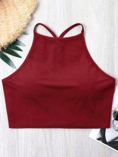 Cutout Open Back Crop Tank Top - Red Wine M