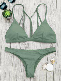 Padded Back Strappy Bathing Suit - Green L