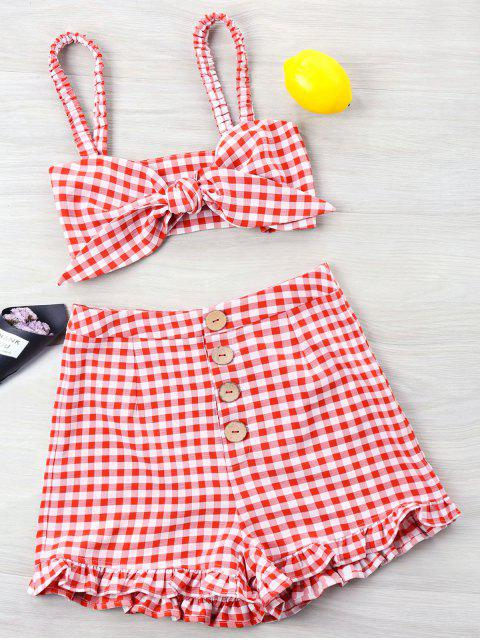 ladies Gingham Ruffle Knotted Two Piece Set - RED XL Mobile