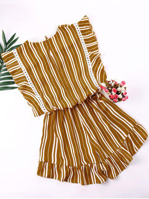 online Low Cut Flounced Striped Romper - GINGER BROWN XL Mobile
