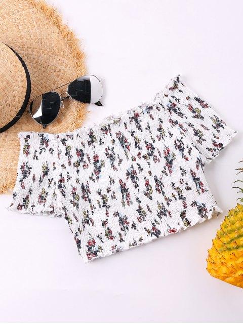 Schulterfreie Smocked Crop Bluse - Weiß XL Mobile