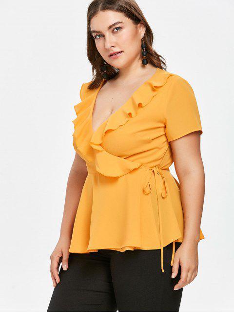 womens Plus Size Peplum Wrap Blouse - YELLOW 5X Mobile