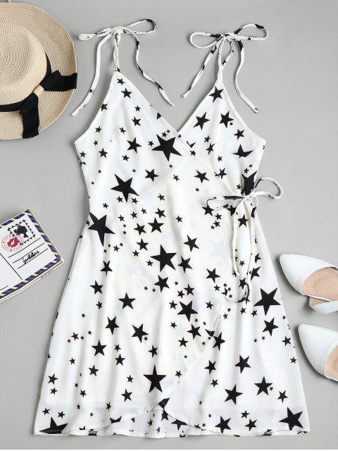 Stern Druck Mini Wickelkleid - Weiß XL  Mobile