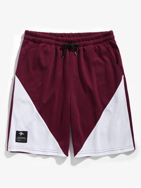 Pantalones cortos de baloncesto de dos tonos con cordón - Vino Tinto 2XL Mobile