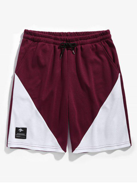 hot Drawstring Two Tone Basketball Shorts - RED WINE L Mobile