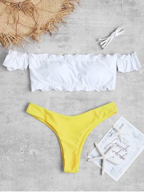 buy Frilled Off Shoulder High Leg Bikini Set - BRIGHT YELLOW L Mobile