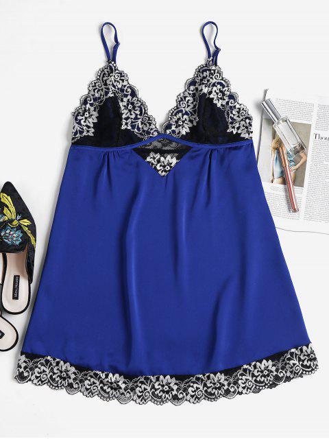 Besticktes Spitze Muschel Nachthemd - Kobaltblau L Mobile