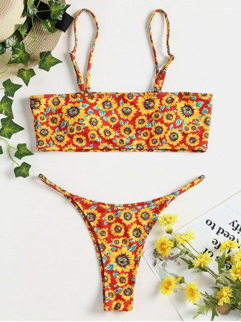 Sonnenblume Bandeau Bikini Set - Kastanie Rot L Mobile