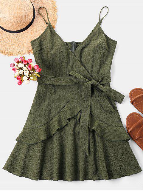 trendy Ruffle Mini Cami Dress - ARMY GREEN M Mobile