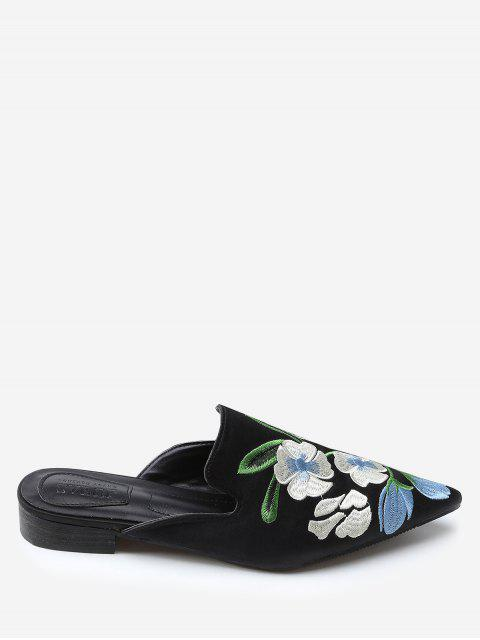 shops Color Block Floral Embroidery Pointed Toe Mules Shoes - BLACK 37 Mobile