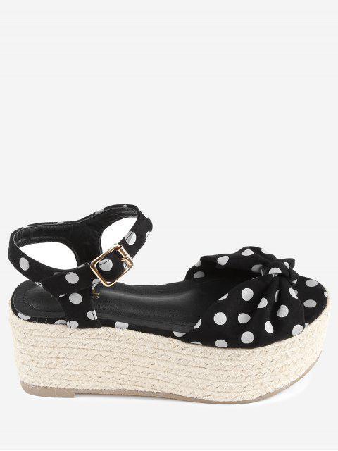 chic Bowknot Polka Dot Espadrille Platform Sandals - BLACK 37 Mobile