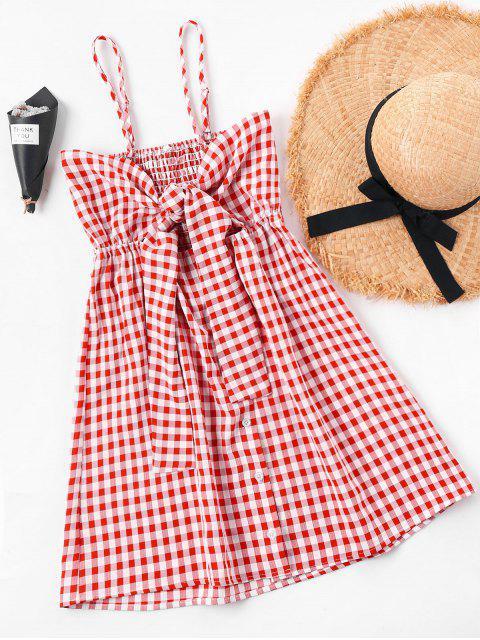 Robe Smockée Nouée à Carreaux - Rouge XL Mobile